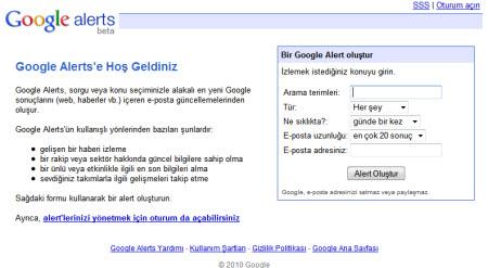 Google Alerts artık Türkçe!