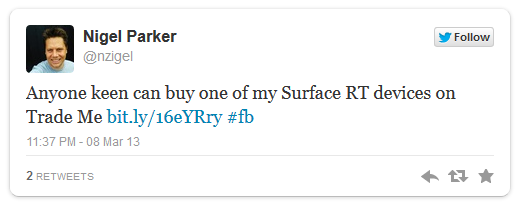 Nigel Parker'ın Surface RT'si