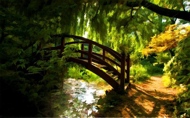 архитектура мост природа деревья загрузить